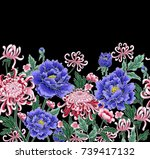 vector hand draw seamless...   Shutterstock .eps vector #739417132