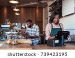 young african entrepreneur... | Shutterstock . vector #739423195