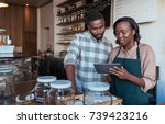 two young african entrepreneurs ...   Shutterstock . vector #739423216