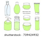 hand drawn body care  cosmetic  ... | Shutterstock .eps vector #739424932
