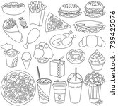 fast food elements set ... | Shutterstock .eps vector #739425076