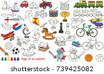 toys for boy set to be colored  ... | Shutterstock .eps vector #739425082