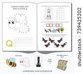 letter q. dot to dot... | Shutterstock .eps vector #739425202