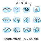 set of different optometry... | Shutterstock .eps vector #739428586