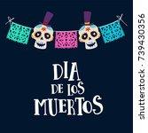 dia de los muertos greeting... | Shutterstock .eps vector #739430356