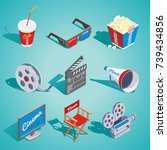 isometric cinema elements set... | Shutterstock .eps vector #739434856