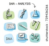 set of different dna testing... | Shutterstock .eps vector #739436266