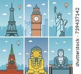 world landmarks design with... | Shutterstock .eps vector #739437142