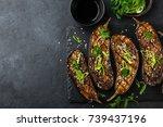 grilled glazed eggplants on... | Shutterstock . vector #739437196