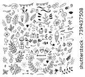 Set Of Doodles Of Floral ...
