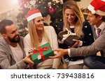group of friends with christmas ... | Shutterstock . vector #739438816