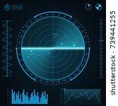 blue radar screen.screen with...   Shutterstock .eps vector #739441255