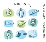 set of different diabetes and... | Shutterstock .eps vector #739441576