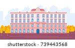 Flat design modern illustration of Medical University building. Vector clip art