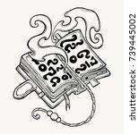 magical open book. vector... | Shutterstock .eps vector #739445002