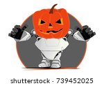 robot monster in halloween new... | Shutterstock .eps vector #739452025