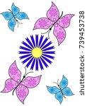vector butterfly | Shutterstock .eps vector #739453738