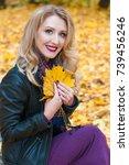 portrait of beautiful blonde... | Shutterstock . vector #739456246