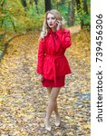 portrait of beautiful blonde... | Shutterstock . vector #739456306