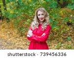 portrait of beautiful blonde... | Shutterstock . vector #739456336