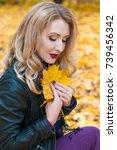 portrait of beautiful blonde... | Shutterstock . vector #739456342