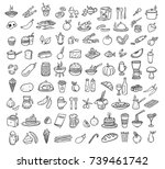 black food icons set | Shutterstock .eps vector #739461742