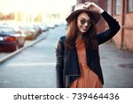 close up fashion woman portrait ... | Shutterstock . vector #739464436
