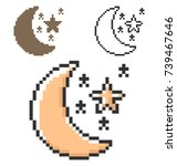 pixel icon of   crescent with... | Shutterstock .eps vector #739467646