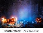 jack o lantern in blue... | Shutterstock . vector #739468612