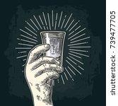 male hand holding glass vodka.... | Shutterstock .eps vector #739477705