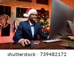 businessman on new year's eve... | Shutterstock . vector #739482172
