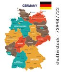germany map and flag   vector... | Shutterstock .eps vector #739487722
