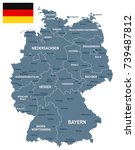 germany map and flag   vector... | Shutterstock .eps vector #739487812