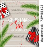 christmas sale poster with gift ... | Shutterstock .eps vector #739488625