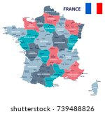 france map and flag   vector...