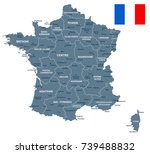 france map and flag   vector... | Shutterstock .eps vector #739488832