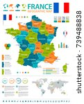 france infographic map and flag ... | Shutterstock .eps vector #739488838