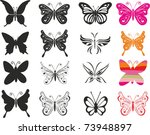 Set Butterfly. Isolated On...