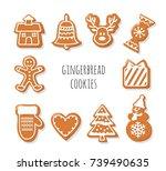 gingerbread cookies set....   Shutterstock .eps vector #739490635