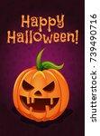 happy halloween card  funny... | Shutterstock .eps vector #739490716
