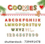 christmas gingerbread cookie... | Shutterstock .eps vector #739491478