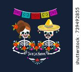mexican dia de los muertos  day ... | Shutterstock .eps vector #739492855