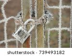 hoarfrost on a padlock and chain | Shutterstock . vector #739493182