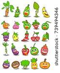 cartoon fruits and vegetables...   Shutterstock .eps vector #739494346