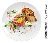 gourmet tartare  toasted bread... | Shutterstock . vector #739496962