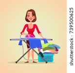 happy smiling woman housewife... | Shutterstock .eps vector #739500625