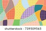vector patchwork quilt pattern. ... | Shutterstock .eps vector #739509565