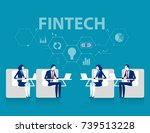 fintech. business team and in... | Shutterstock .eps vector #739513228