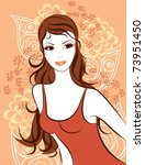 beautiful girl against floral... | Shutterstock .eps vector #73951450