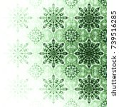 green christmas pattern with... | Shutterstock . vector #739516285